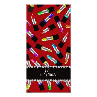 Personalized name red rainbow lipstick photo card