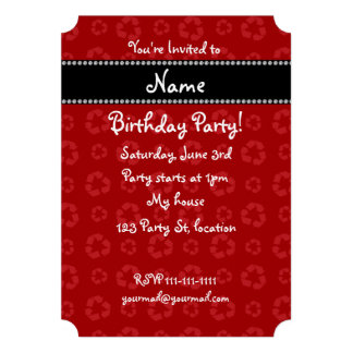 Personalized name red recycling pattern invitation
