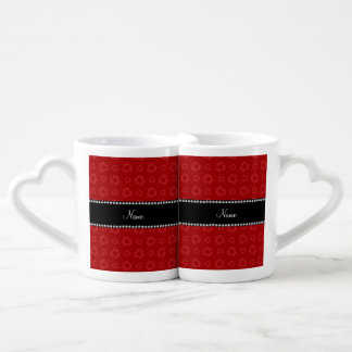 Personalized name red recycling pattern lovers mug sets