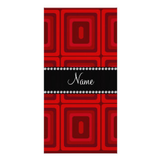 Personalized name red retro colorful squares photo card template
