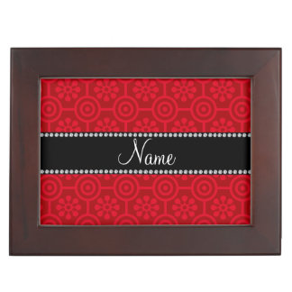 Personalized name red retro flowers memory box