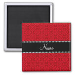 Personalized name red retro flowers magnet