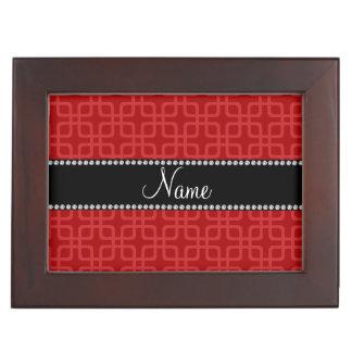 Personalized name red retro squares memory box