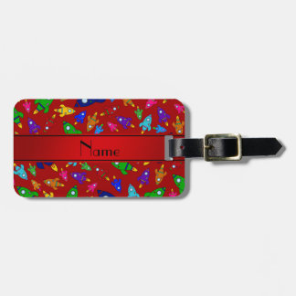 Personalized name red rocket ships luggage tags