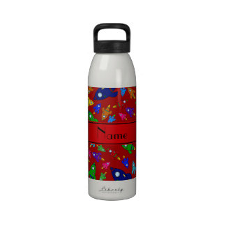 Personalized name red rocket ships drinking bottle
