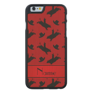 Personalized name red rodeo bull riding pattern carved® maple iPhone 6 case