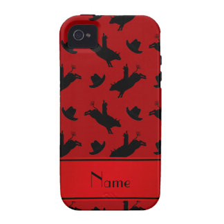 Personalized name red rodeo bull riding pattern vibe iPhone 4 case
