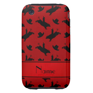 Personalized name red rodeo bull riding pattern iPhone 3 tough covers