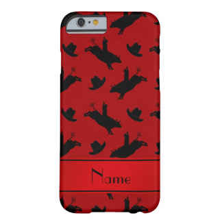 Personalized name red rodeo bull riding pattern barely there iPhone 6 case