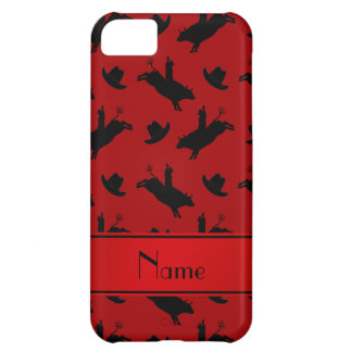 Personalized name red rodeo bull riding pattern iPhone 5C cover