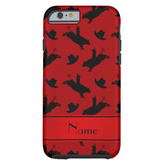 Personalized name red rodeo bull riding pattern tough iPhone 6 case