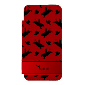 Personalized name red rodeo bull riding pattern incipio watson™ iPhone 5 wallet case