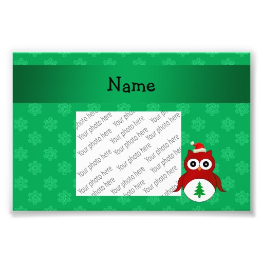 Personalized name red santa owl green snowflakes photographic print