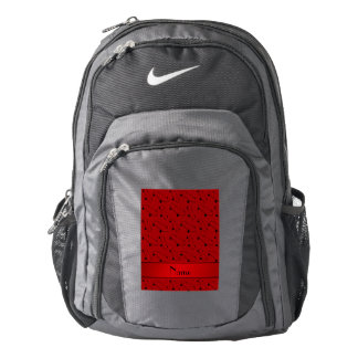Personalized name red skateboard pattern backpack