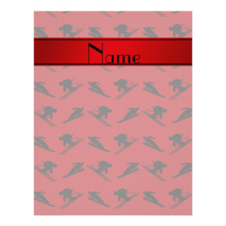 Personalized name red ski pattern flyer design