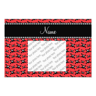 Personalized name red skulls pattern photo art