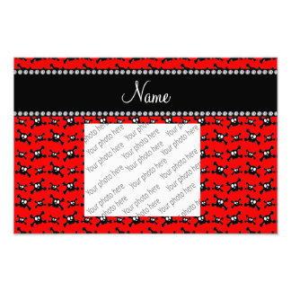 Personalized name red skulls pattern photograph