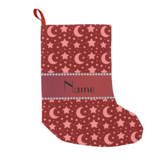 Personalized name red stars and moons small christmas stocking
