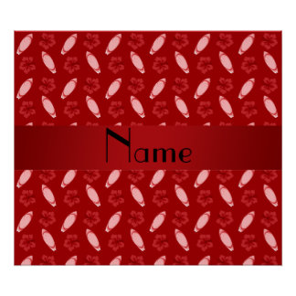 Personalized name red surfboard pattern print