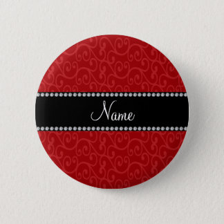 Personalized name red swirls 6 cm round badge