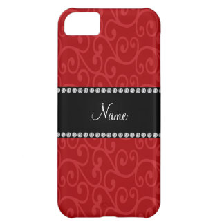 Personalized name red swirls iPhone 5C cover