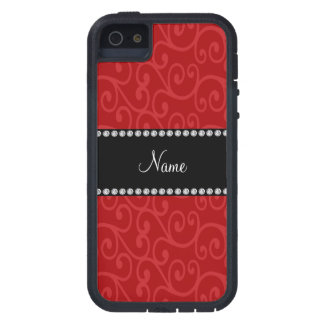 Personalized name red swirls iPhone 5/5S covers