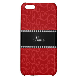 Personalized name red swirls iPhone 5C case