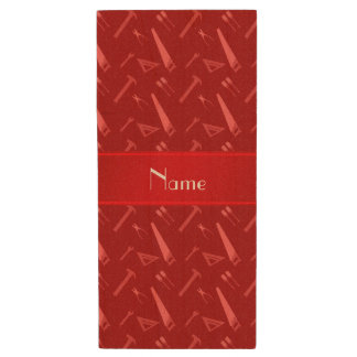 Personalized name red tools pattern wood USB 2.0 flash drive