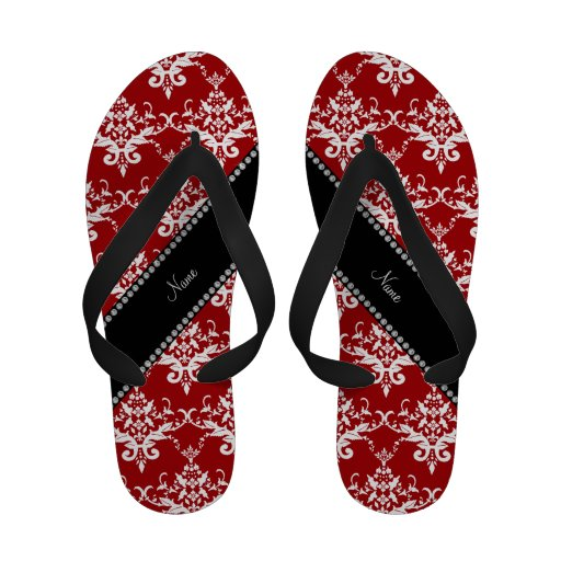Personalized name red white damask flip flops