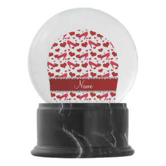 Personalized name red white hearts shoes bows snow globe