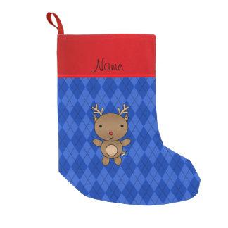 Personalized name reindeer blue argyle small christmas stocking
