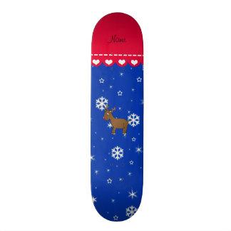 Personalized name reindeer blue snowflakes skateboard decks