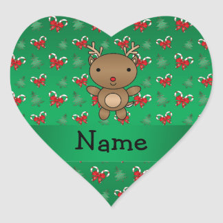 Personalized name reindeer green candy canes bows heart sticker