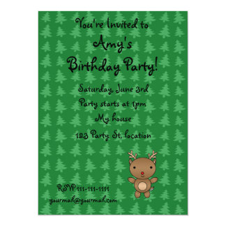 Personalized name reindeer green christmas trees 14 cm x 19 cm invitation card