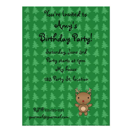 Personalized name reindeer green christmas trees invitations