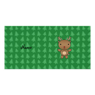 Personalized name reindeer green christmas trees customised photo card