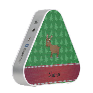 Personalized name reindeer green christmas trees