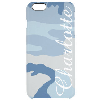 Personalized Name Retro Blue Camouflage Pattern Uncommon Clearly™ Deflector iPhone 6 Plus Case
