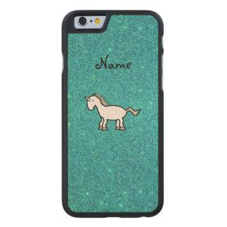 Personalized name retro unicorn turquoise glitter carved® maple iPhone 6 case