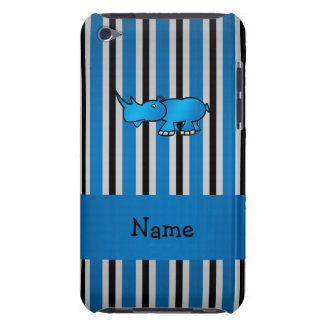 Personalized name rhino blue black stripes iPod touch cases