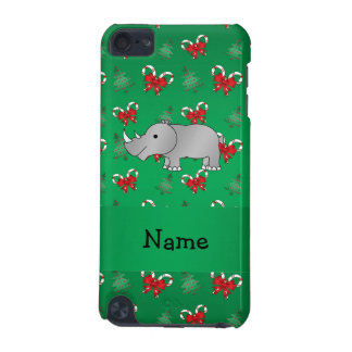 Personalized name rhino green candy canes bows iPod touch (5th generation) cover