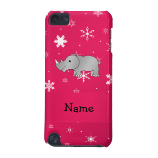 Personalized name rhino pink snowflakes iPod touch (5th generation) covers