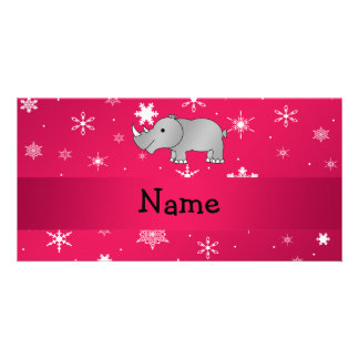 Personalized name rhino pink snowflakes photo cards