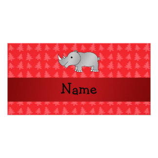 Personalized name rhino red christmas trees photo card