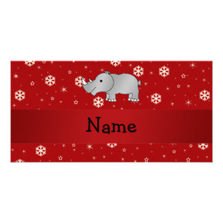 Personalized name rhino red snowflakes picture card
