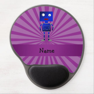 Personalized name robot purple sunburst gel mouse pad