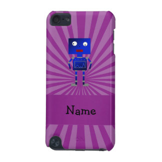 Personalized name robot purple sunburst iPod touch (5th generation) cover