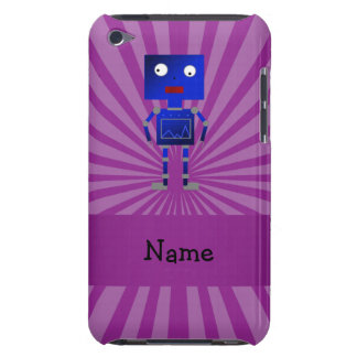 Personalized name robot purple sunburst iPod touch cover