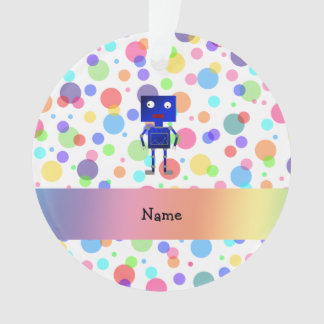 Personalized name robot rainbow polka dots ornament