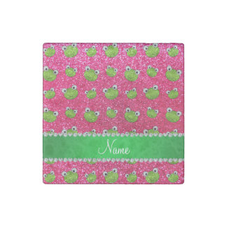 Personalized name rose pink glitter frogs stone magnet